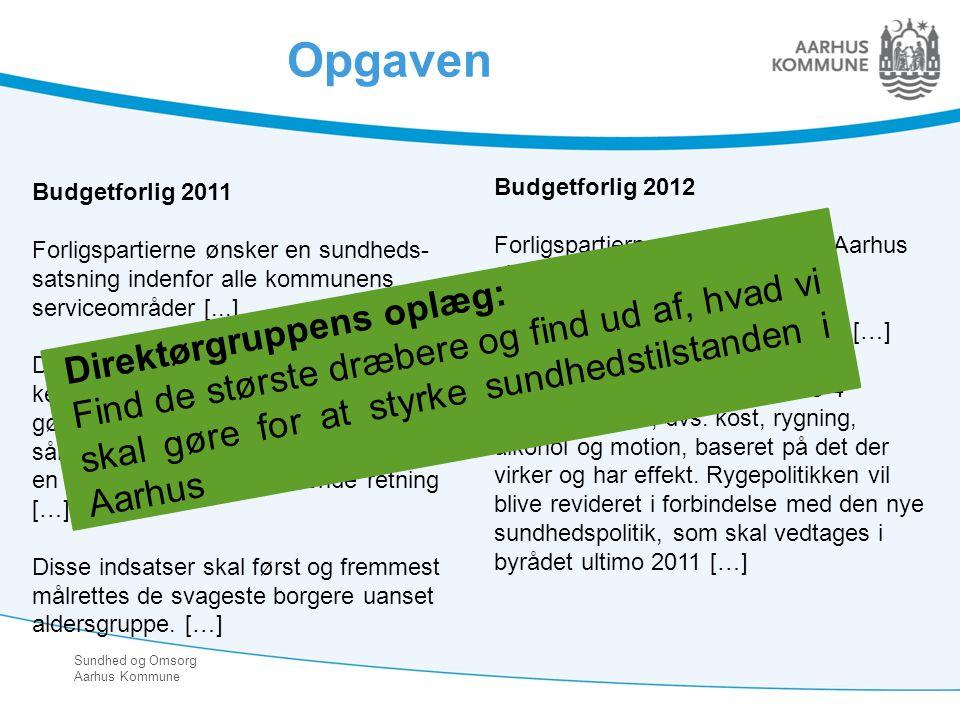 Opgaven Budgetforlig 2011. Forligspartierne ønsker en sundheds-satsning indenfor alle kommunens serviceområder [...]
